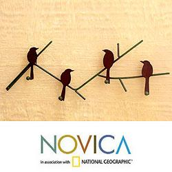 Birds On a Wire Indoor Outdoor Four Peg Hook Key or Coat Rack Brown Rustic Iron Metal Wall Art Hanger (Mexico)