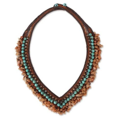 Handmade Carnelian 'Tribal Paths' Beaded Necklace (Thailand)