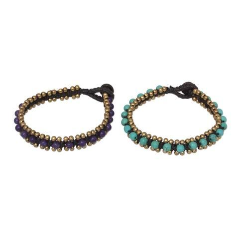NOVICA Handmade Set of 2 Brass 'Blue Purple Aryuveda' Quartz Bracelets (Thailand) - Blue