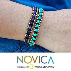 Set of 2 Brass 'Blue Purple Aryuveda' Quartz Bracelets (Thailand)