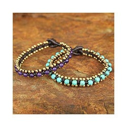 Handmade Set of 2 Brass 'Blue Purple Aryuveda' Quartz Bracelets (Thailand)