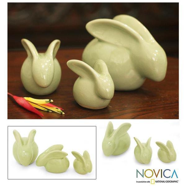 Handmade Chiang Mai Rabbit Celadon Ceramic Figurine, Set of 3 (Thailand)