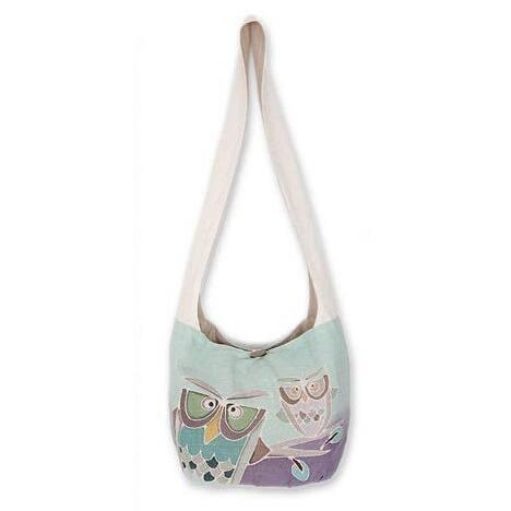Handmade Cotton 'Owl Sisters' Sling Handbag (Thailand)