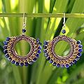 Handmade Sodalite 'Thai Suns' Earrings (Thailand)