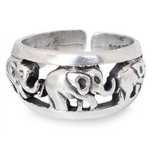 Women/'s and Men/'s 925 Sterling silver elephant family cut out ring