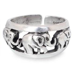 Handmade Sterling Silver 'Siam Elephants' Ring (Thailand)