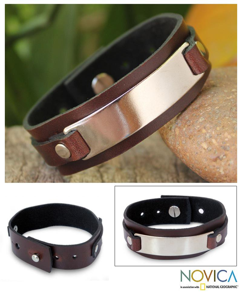 Leather 'Modern Thai Contrast' Bracelet (Thailand)