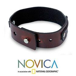 Leather 'Modern Thai Contrast' Bracelet (Thailand) - Thumbnail 2