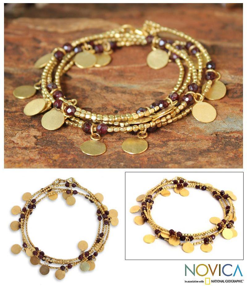 Handmade Gold Overlay 'Golden Suns' Garnet Wrap Bracelet (Thailand)