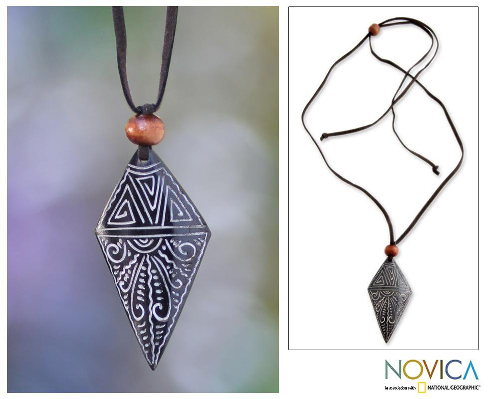 Handmade Chang Wood and Bone 'Sunset' Necklace (Indonesia)