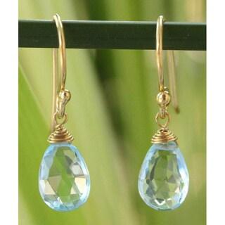Handmade Gold Overlay 'Sublime Elegance' Blue Topaz Dangle Earrings (Thailand)
