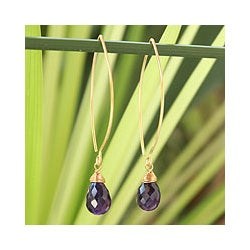 Handmade Gold Overlay 'Breath of Love' Amethyst Dangle Earrings (Thailand)