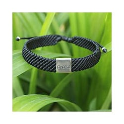 Silver Accent 'Create' Polyester Wristband Bracelet (Thailand)