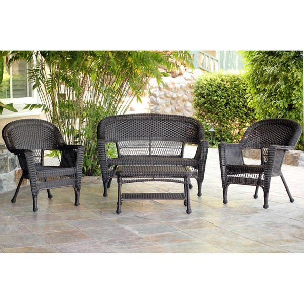 Wicker Patio 4 Piece Conversation Set