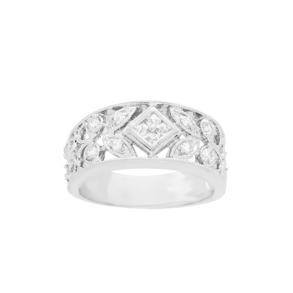 Sterling Essentials Antique Design Sterling Silver CZ Ring - White