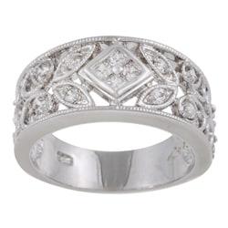 Sterling Essentials Antique Design Sterling Silver CZ Ring