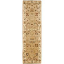 Safavieh Handmade Zeigler Taupe/ Ivory Hand-spun Wool Rug (2'3 x 10')