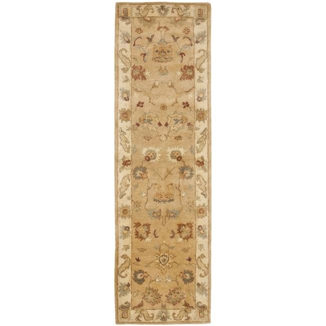 Safavieh Handmade Zeigler Taupe/ Ivory Hand-spun Wool Rug (2'3 x 12')