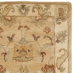 Safavieh Handmade Zeigler Taupe/ Ivory Hand-spun Wool Rug (2'3 x 12') - Thumbnail 1