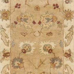 Safavieh Handmade Zeigler Taupe/ Ivory Hand-spun Wool Rug (2'3 x 12') - Thumbnail 2