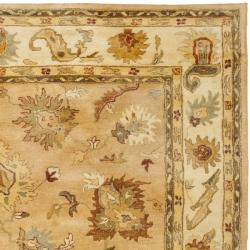 Safavieh Handmade Zeigler Taupe/ Ivory Hand-spun Wool Rug (9'6 x 13'6) - Thumbnail 1
