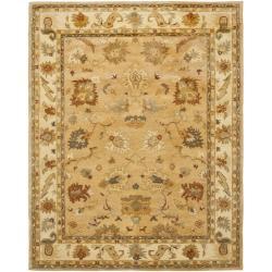 Safavieh Handmade Zeigler Taupe/ Ivory Hand-spun Wool Rug (6' x 9')