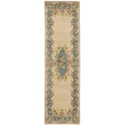 Safavieh Handmade Ivory/ Light Blue Hand-spun Wool Rug (2'3 x 12')