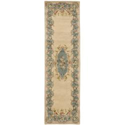Safavieh Handmade Ivory/ Light Blue Hand-spun Wool Rug (2'3 x 8')