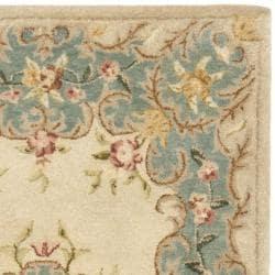 Safavieh Handmade Ivory/ Light Blue Hand-spun Wool Rug (3' x 5') - Thumbnail 1