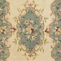 Safavieh Handmade Ivory/ Light Blue Hand-spun Wool Rug (3' x 5') - Thumbnail 2