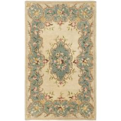 Safavieh Handmade Ivory/ Light Blue Hand-spun Wool Rug (3' x 5')