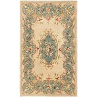 Safavieh Handmade Ivory/ Light Blue Hand-spun Wool Rug - 3' x 5'