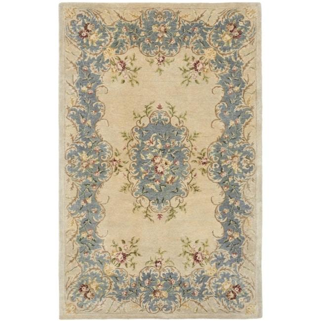 Safavieh Handmade Ivory/ Light Blue Hand-spun Wool Rug (4' x 6')