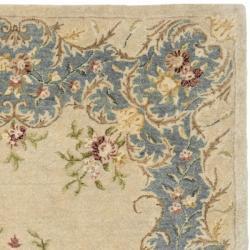 Safavieh Handmade Ivory/ Light Blue Hand-spun Wool Rug (4' x 6') - Thumbnail 1