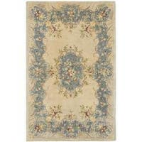Safavieh Handmade Ivory/ Light Blue Hand-spun Wool Rug - 4' x 6'