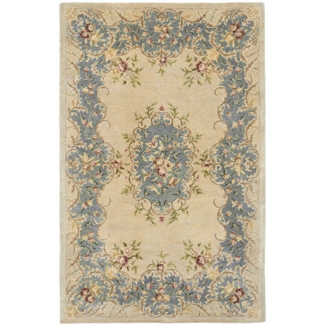 Safavieh Handmade Ivory/ Light Blue Hand-spun Wool Rug (5' x 8') - Thumbnail 0
