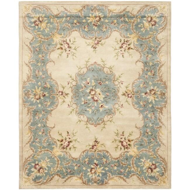 Safavieh Handmade Ivory/ Light Blue Hand-spun Wool Rug (6' x 9')