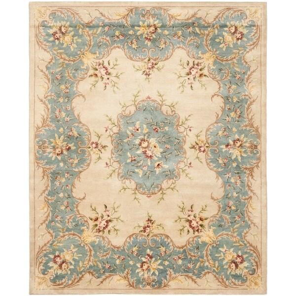 Safavieh Handmade Ivory/ Light Blue Hand-spun Wool Rug - 8' x 10'