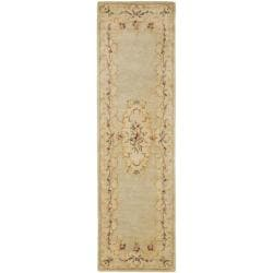 "Safavieh Handmade Light Green/ Beige Hand-spun Wool Rug - 2'3"" x 8' - Thumbnail 0"