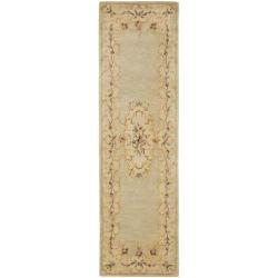 Safavieh Handmade Light Green/ Beige Hand-spun Wool Rug (2'3 x 8') - Thumbnail 0