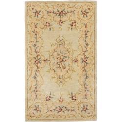 Safavieh Handmade Light Green/ Beige Hand-spun Wool Rug (4' x 6')