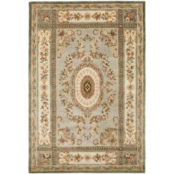Safavieh Handmade Oasis Light Blue/ Ivory Hand-spun Wool Rug (4' x 6')