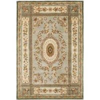 Safavieh Handmade Oasis Light Blue/ Ivory Hand-spun Wool Rug - 5' x 8'