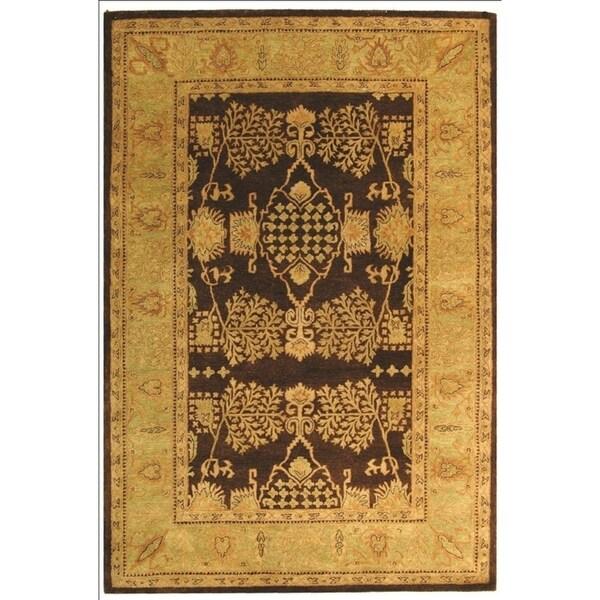 "Safavieh Handmade Tree Brown/ Light Green Hand-spun Wool Rug - 9'6"" x 13'6"""