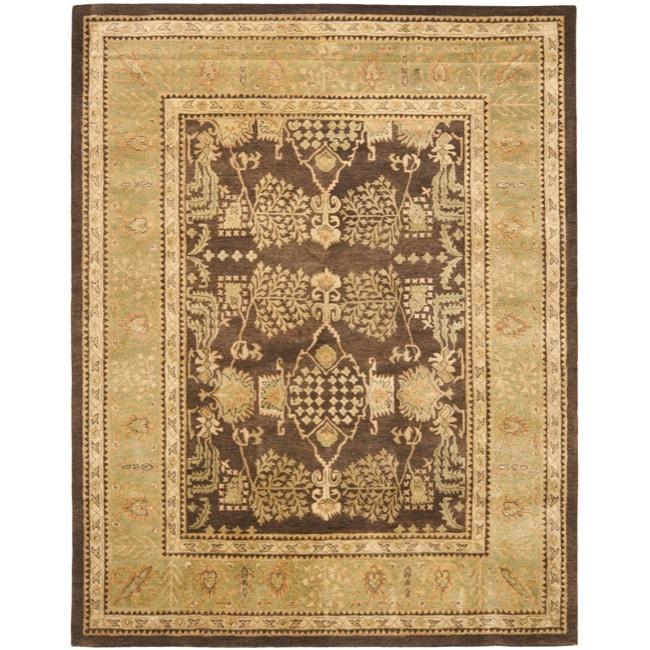 Safavieh Handmade Tree Brown/ Light Green Hand-spun Wool Rug (6' x 9')
