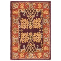 Safavieh Handmade Tree of Life Dark Red/ Rust Hand-spun Wool Rug - 2' X 3'