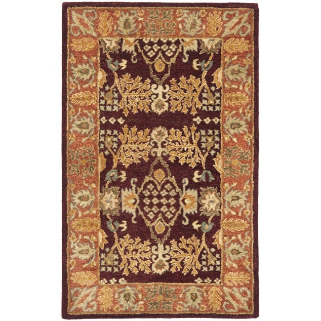 Safavieh Handmade Tree of Life Dark Red/ Rust Hand-spun Wool Rug (3' x 5')