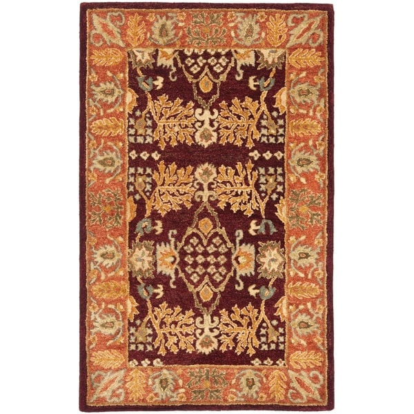 Safavieh Handmade Tree of Life Dark Red/ Rust Hand-spun Wool Rug - 3' x 5'