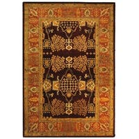 Safavieh Handmade Tree of Life Dark Red/ Rust Hand-spun Wool Rug - 4' x 6'