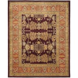 Safavieh Handmade Tree Dark Red/ Rust Hand-spun Wool Rug (9' x 12') - Thumbnail 0